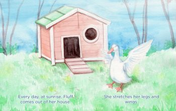 A watercolor painting of a Pekin duck stretching her wings out in front of her coop that looks like a little house