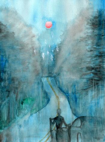 """Ascending"" watercolor painting"
